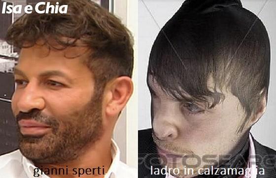 Somiglianza tra Gianni Sperti e un ladro in calzamaglia
