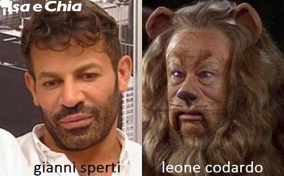 Somiglianza tra Gianni Sperti e Leone codardo