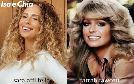 Somiglianza tra Sara Affi Fella e Farrah Fawcett