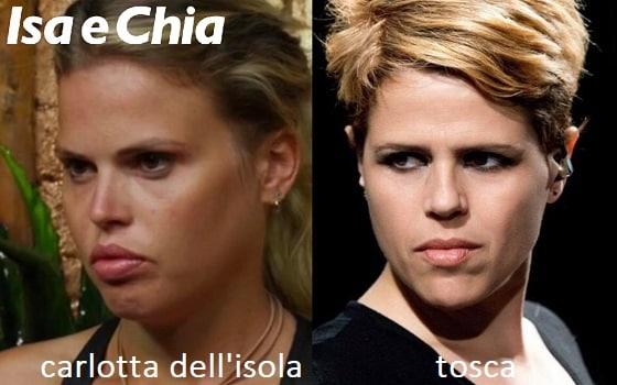 Somiglianza tra Carlotta Dell'Isola e Tosca