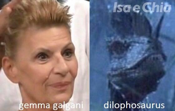 Somiglianza tra Gemma Galgani e il Dilophosaurus di Jurassic Park