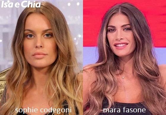 Somiglianza tra Sophie Codegoni e Mara Fasone