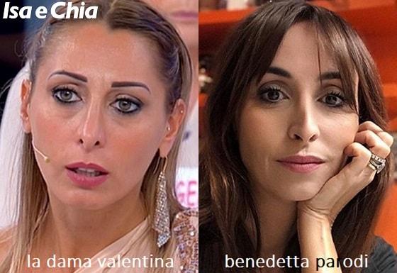 Somiglianza tra Valentina, dama del Trono over di 'Uomini e Donne', e Benedetta Parodi