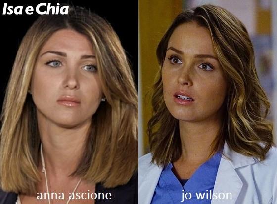 Somiglianza tra Anna Ascione e Jo Wilson di 'Grey's Anatomy'