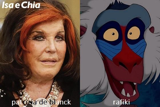 Somiglianza tra Patrizia De Blanck e Rafiki de 'Il Re Leone'