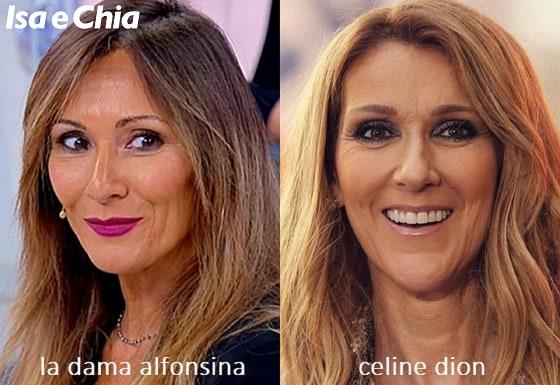 Somiglianza tra Alfonsina, dama del Trono over di 'Uomini e Donne', e Céline Dion