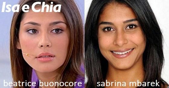 Somiglianza tra Beatrice Buonocore e Sabrina Mbarek
