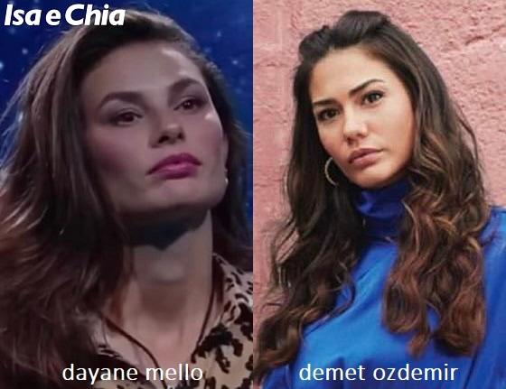 Somiglianza tra Dayane Mello e Demet Özdemir