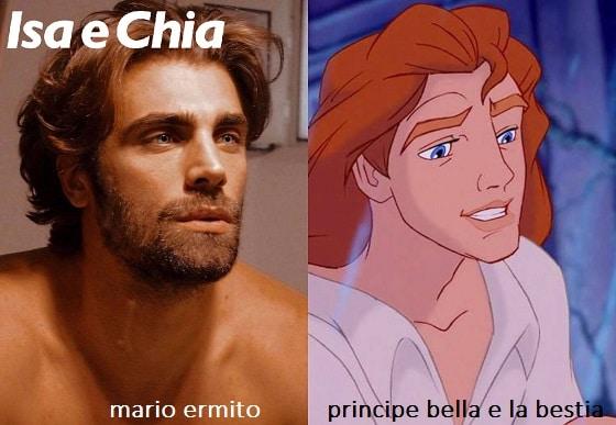 Somiglianza tra Mario Ermito e il principe de 'La Bella e la Bestia'