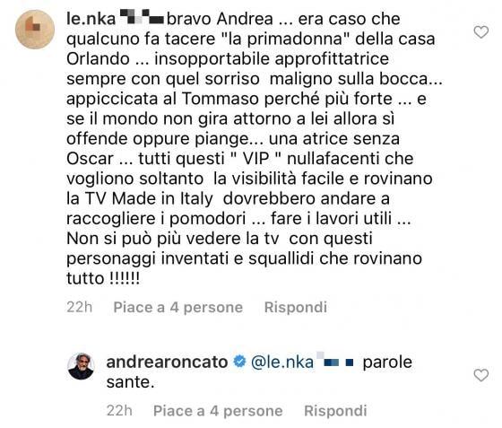 'Gf Vip 5', Andrea Roncato prima si scusa poi ci ricasca: ecco il duro messaggio contro Stefania Orlando che l'attore ha quotato