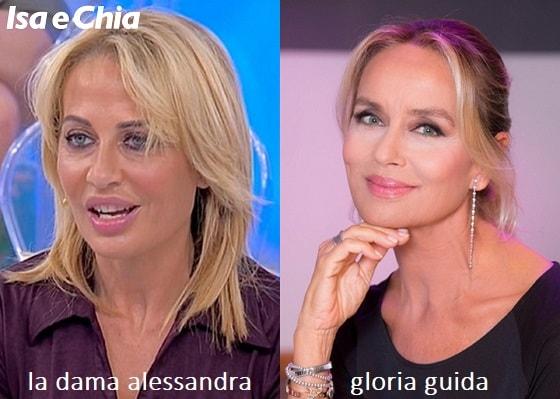 Somiglianza tra Alessandra, dama del Trono over di 'Uomini e Donne', e Gloria Guida