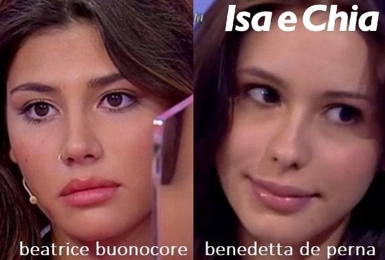 Somiglianza tra Beatrice Buonocore e Benedetta De Perna