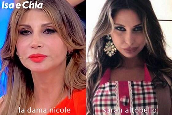 Somiglianza tra Nicole, dama del Trono over di 'Uomini e Donne', e Sarah Altobello