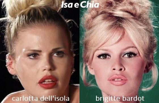 Somiglianza tra Carlotta Dell'Isola e Brigitte Bardot