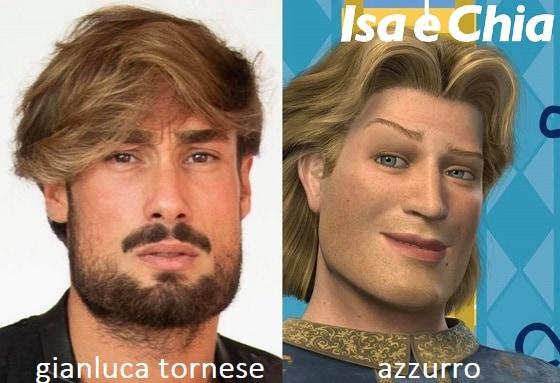Somiglianza tra Gianluca Tornese e Azzurro