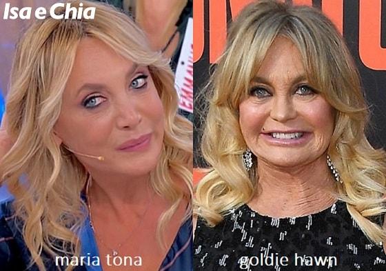 Somiglianza tra Maria Tona, dama del Trono over di 'Uomini e Donne', e Goldie Hawn
