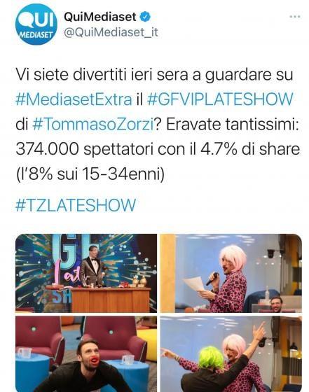 Twitter - Auditel Gf late show