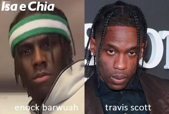 Somiglianza tra Enock Barwuah e Travis Scott