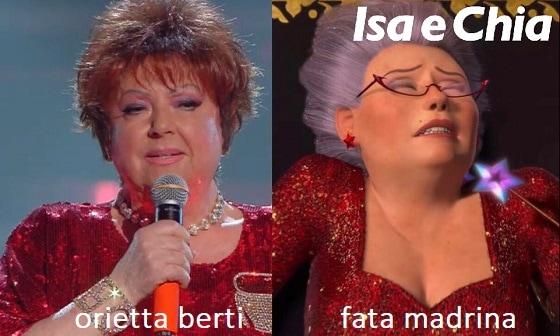 Somiglianza tra Orietta Berti e la fata madrina di Shrek