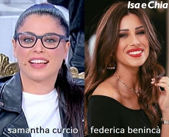 Somiglianza tra Samantha Curcio e Federica Benincà