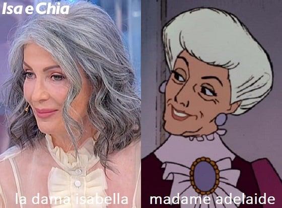 Somiglianza tra Isabella, dama del Trono over di Uomini e Donne, e Madame Adelaide de Gli Aristogatti