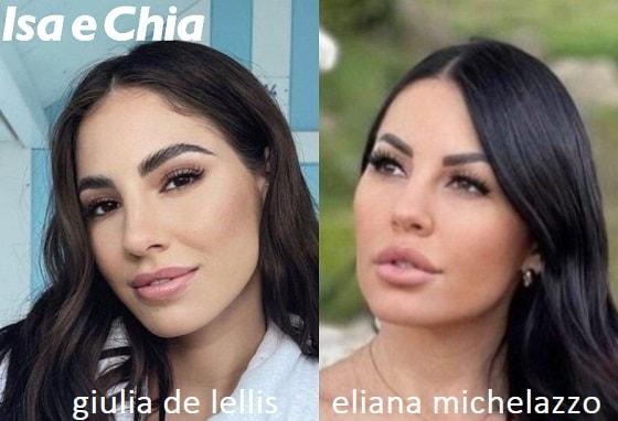 Somiglianza tra Giulia De Lellis ed Eliana Michelazzo