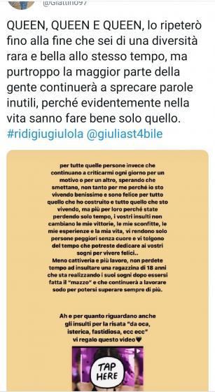 Tweet fan Giulia Stabile