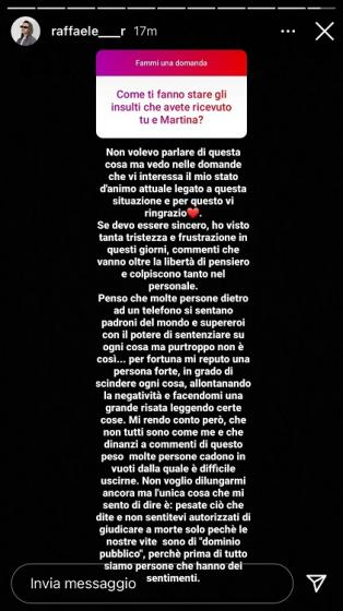 Raffaele critiche relazione Martina