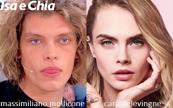 Somiglianza tra Massimiliano Mollicone e Cara Delevingne