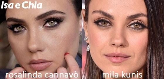 Somiglianza tra Rosalinda Cannavò e Mila Kunis