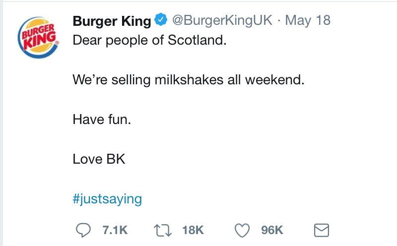 tweet burger king milkshake