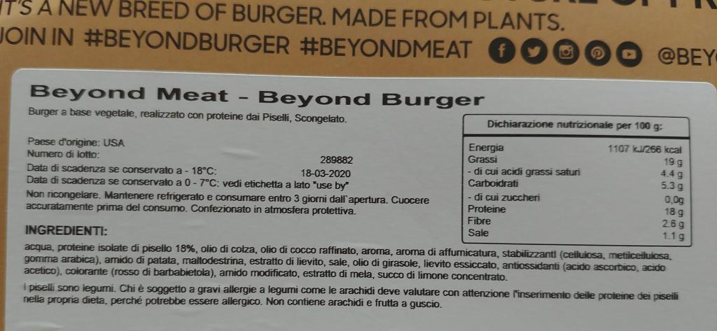 beyond burger ingredienti valori nutrizionali