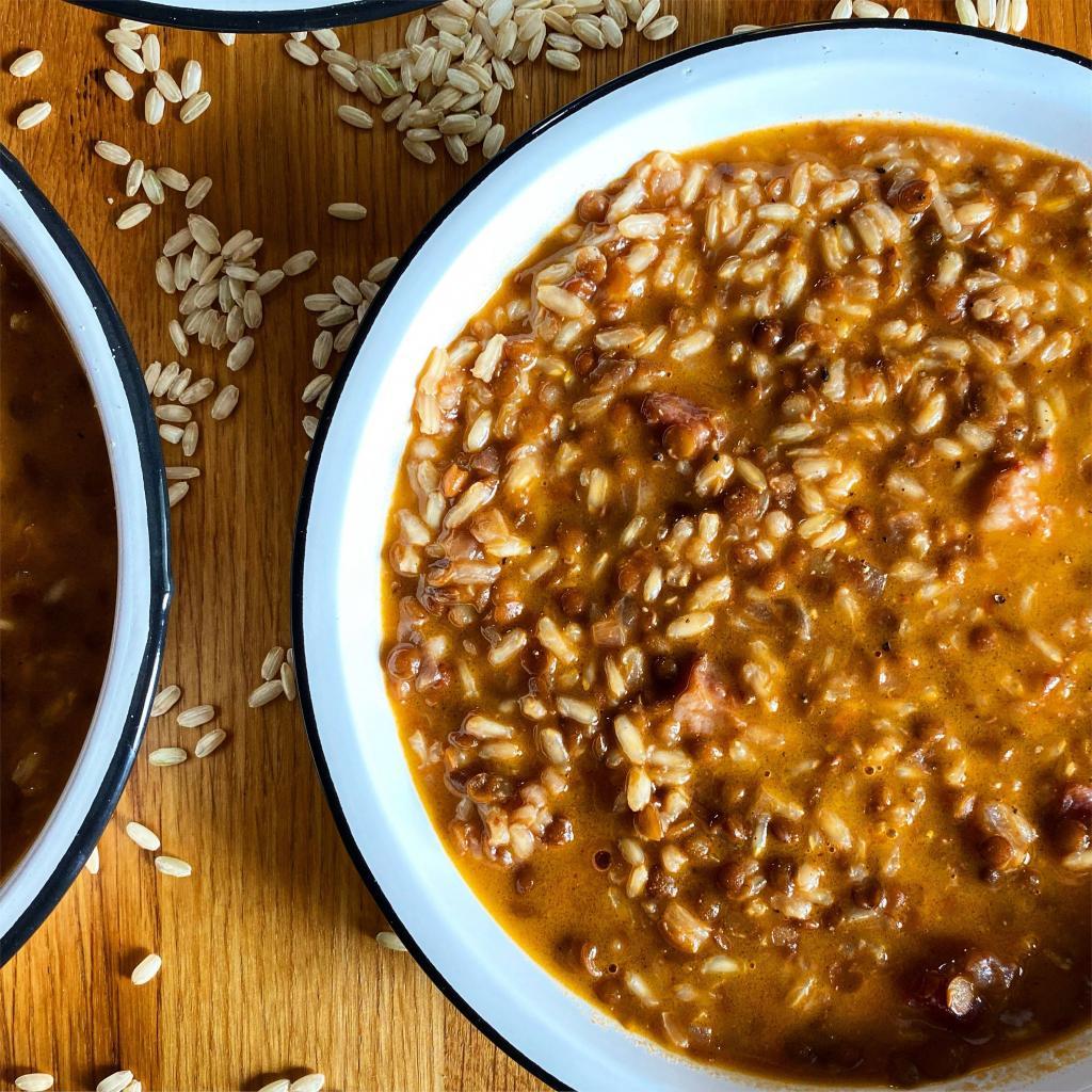 riso integrale lenticchie guanciale ricetta