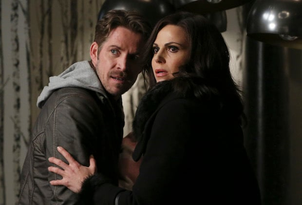 """ONCE UPON A TIME - """"Last Rites"""" - Emma, David, Regina, Robin and Henry are finally back home in Storybrooke and reunited with Snow, but, unfortunately, they still have to contend with Hades, who continues to deceive Zelena as he lays out his plan to use the all-powerful Olympian Crystal to take over the town. The heroes desperately search for a way to defeat Hades while Hook does the same in the Underworld, looking for those missing storybook pages. Regina and Robin take a more direct approach, which culminates in an epic showdown that will leave our heroes forever changed, on """"Once Upon a Time,"""" SUNDAY, MAY 8 (8:00-9:00 p.m. EST), on the ABC Television Network. (ABC/Jack Rowand) SEAN MAGUIRE, LANA PARRILLA"""