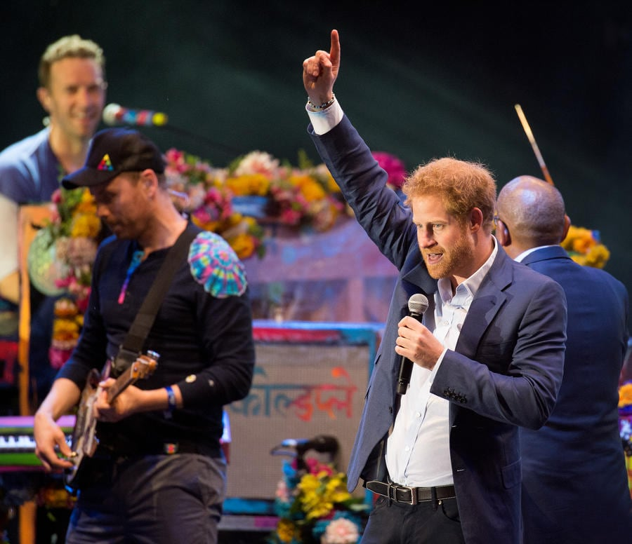 LONDON, ENGLAND - JUNE 28: Prince Harry appears on stage with Coldplay during the Sentebale Concert at Kensington Palace on June 28, 2016 in London, England. (Photo by Pool/Samir Hussein/WireImage)
