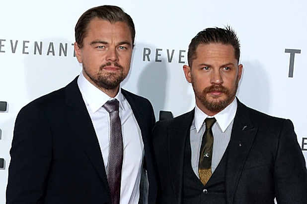 """HOLLYWOOD, CA - DECEMBER 16: Actors Leonardo DiCaprio (L) and Tom Hardy attend the premiere of 20th Century Fox and Regency Enterprises' """"The Revenant"""" at the TCL Chinese Theatre on December 16, 2015 in Hollywood, California. (Photo by Frederick M. Brown/Getty Images)"""
