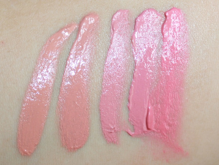 From Left: Apricot, Peach, Rose, Mauve, Cherry