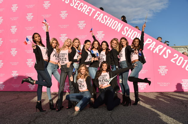 NEW YORK, NY - NOVEMBER 27: (L-R) Victoria's Secret models Lais Ribeiro, Elsa Hosk, Martha Hunt, Josephine Skriver, Adriana Lima, Alessandra Ambrosio, Lily Aldridge, Sara Sampaio, Romee Strijd, Taylor Hill and Jasmine Tookes depart for Paris for the 2016 Victoria's Secret Fashion Show on November 27, 2016 in New York City. (Photo by Mike Coppola/Getty Images for Victoria's Secret)