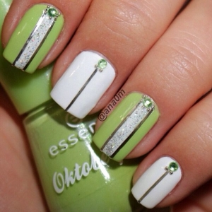 white-and-green-nail-design
