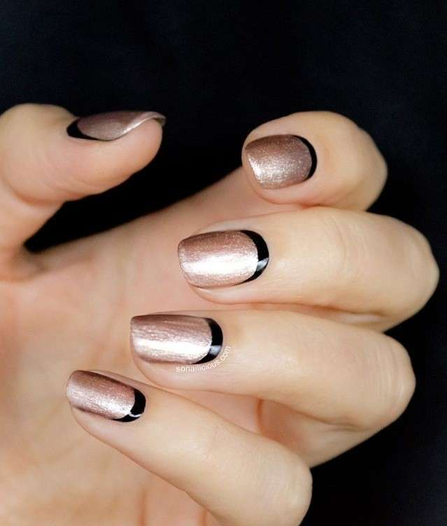 sideways,french,manicure reverse,french,manicure,rosa,shimmer,e,nero