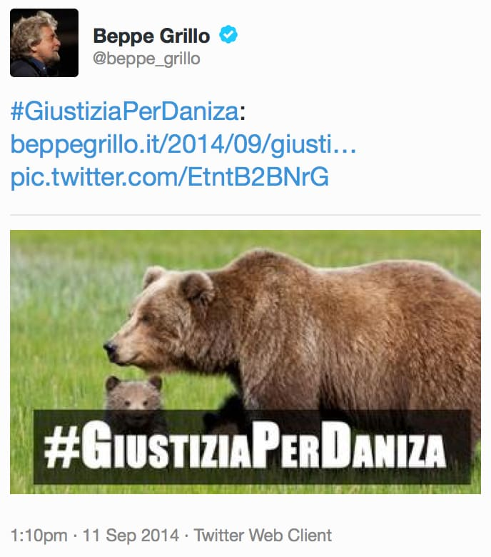 Giustizia per Daniza Beppe Grillo