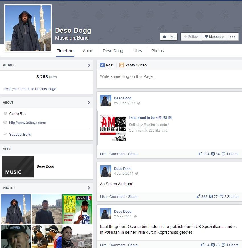 La pagina Facebook di Deso Dogg