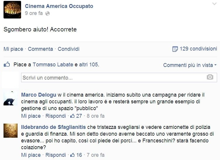 cinema america occupato sgombero