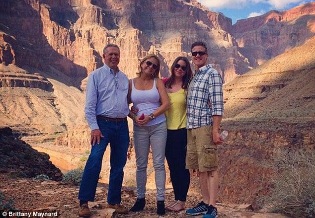 Brittany Maynard con la famiglia in Grand Canyon