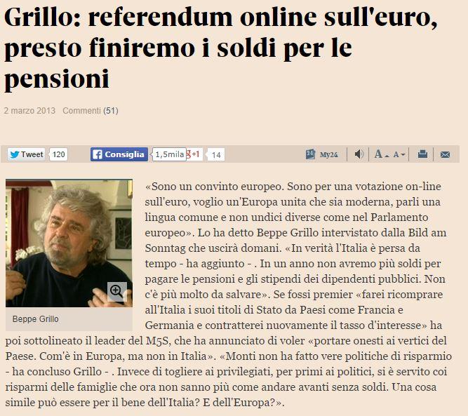 beppe grillo referendum euro 2