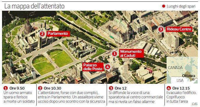 L'attacco al parlamento di Ottawa (infografica del Corriere della Sera)