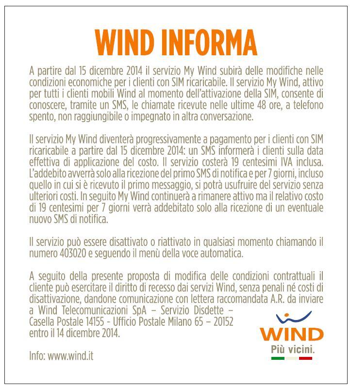wind servizio my wind a pagamento