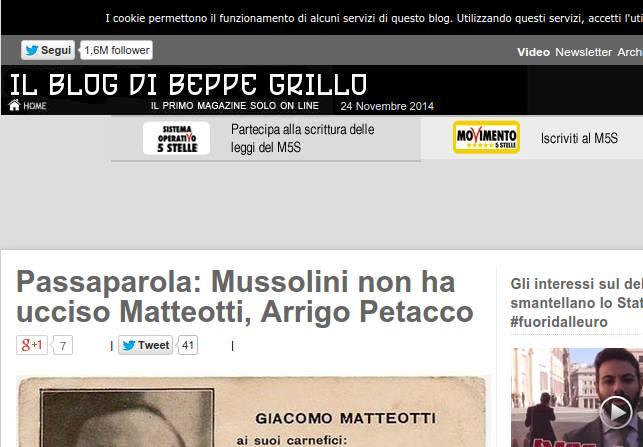 Il nuovo header del Blog di Grillo