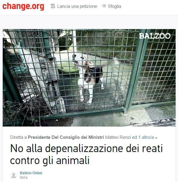 depenalizzazione reati contro animali