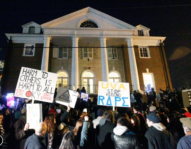 stupro università virginia, proteste